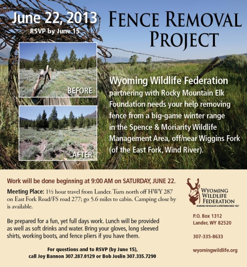WYoming Wildlife Federation and RMEF Fence Removal Project